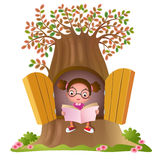 Young girl reading a book royalty free illustration