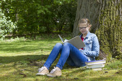 Young girl reading book in park Stock Photography