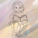 Young girl reading a book. Vector illustration Royalty Free Stock Images