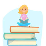 Young girl reading, studying, sit on giant books. Vector illustration. cartoon. trend Royalty Free Stock Photo