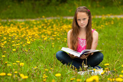 A young girl reads a book in the meadow Stock Images