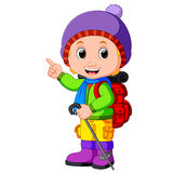 Young girl ready for hiking. Illustration of young girl ready for hiking Royalty Free Stock Photography