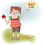 young girl recommends healthy food Stock Images