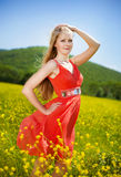 Young girl in red. Dress Stock Image
