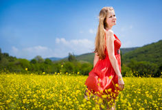 Young girl in red Royalty Free Stock Image