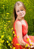 Young girl in red. Dress Stock Photos