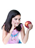 Young girl with red apple Royalty Free Stock Photo