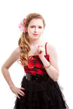 Young girl in red and black Royalty Free Stock Photo