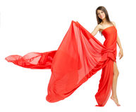 Young girl in red cloth Stock Images