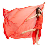 Young girl in red cloth Stock Photography