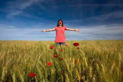 Young girl with red clown nose outdoors Royalty Free Stock Images