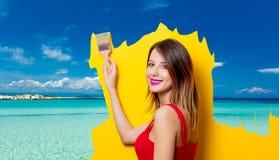 Girl painting dreaming summer vacation stock photo
