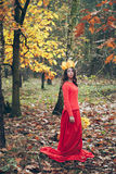 Young girl in red dress with crown of autumn yellow leaves. Portrait of young woman in red dress with crown of autumn yellow leaves in beautiful autumn park stock photo
