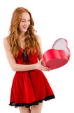 Young girl in red dress with heart  casket Royalty Free Stock Photography