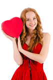 Young girl in red dress with  heart casket Stock Photography