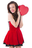 Young girl in red dress with  heart casket Royalty Free Stock Photo