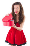 Young girl in red dress with  heart casket isolated Stock Images