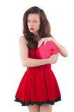 Young girl in red dress with  heart casket isolated Royalty Free Stock Photos