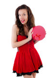 Young girl in red dress with  heart casket isolated Stock Photography