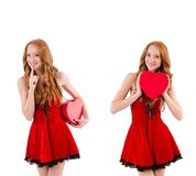 The young girl in red dress with  heart casket isolated on white Stock Photo