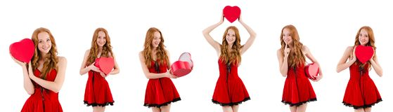 The young girl in red dress with  heart casket isolated on white Stock Images