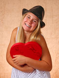 Young Girl With Red Heart Royalty Free Stock Photography
