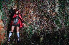Young girl in red hood Royalty Free Stock Image