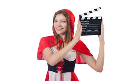 Young girl in red hood Stock Images