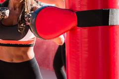 Young Girl and Red Punching Bags and Mitts, Boxing & Fitness Stock Photography