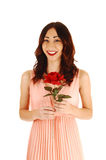 Young girl with red rose. A lovely young woman in a pink dress, smiling and holding a red rose Royalty Free Stock Photos