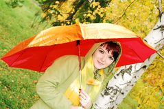 Young girl and red umbrella. Royalty Free Stock Photography
