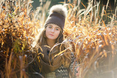 Young girl in a reed Royalty Free Stock Photography