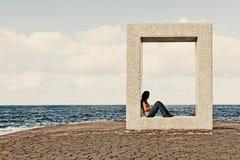 Young Girl Relaxing in Garachico Town stock image