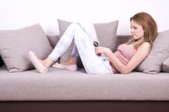 Young girl relaxing and listening a music Stock Photography