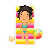 Young Girl Relaxing on a Swim Mattress Royalty Free Stock Photo