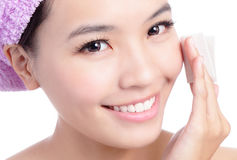 Young Girl remove makeup by Cleansing Cotton Stock Photo