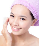 Young Girl remove makeup by Cleansing Cotton Royalty Free Stock Image