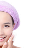 Young Girl remove makeup by Cleansing Cotton Royalty Free Stock Photography
