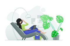 Young girl resting in chair with laptop. Office with green plant. Vector illustration Royalty Free Stock Photography