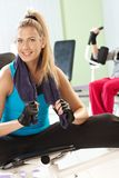 Young girl resting at gym Royalty Free Stock Photos