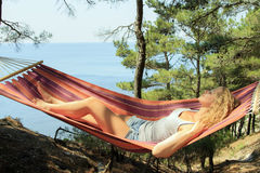 Young girl resting in a hammock Royalty Free Stock Photo