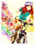 Young girl rides bicycle. Watercolor. Watercolor painting of young girl rides bicycle. Spring concept stock illustration
