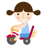 A young girl riding a bike vector. Illustration of isolated a young girl riding a bike vector Royalty Free Stock Photo