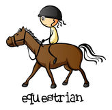 A young girl riding a horse. Illustration of a young girl riding a horse on a white background Stock Photo
