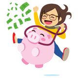 Riding Piggy Bank. Young girl riding piggy bank full of green banknotes success money concept Stock Images