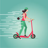 Young girl riding a scooter. Cartoon illustartion. Flat style. Royalty Free Stock Photos