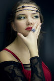 Young girl with  ring. medieval style Stock Photos