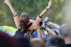 Young girl at a rock concert Royalty Free Stock Photos