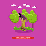 Young girl rollerblade in the park, flat design Stock Photography