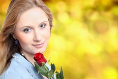Young girl with rose Royalty Free Stock Photos